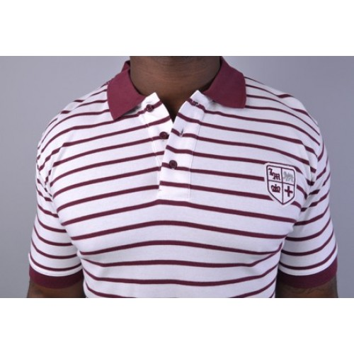 Mechanics Stripe Polo Shirt White/Burgundy